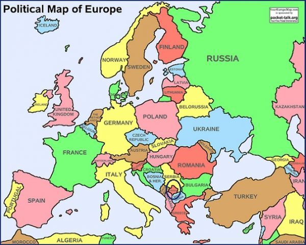 Mapa de Europa incluyendo Kosovo